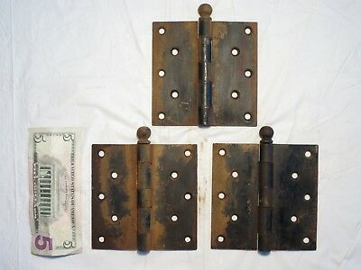 "Vintage Pair Set of 3 Stanley SW cannonball finial big 5"" X 5"" inch Door Hinges"