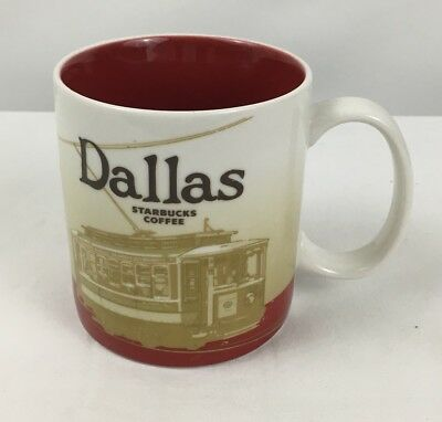 Starbucks Dallas Collector Series Coffee Mug Cup 2009 16 Oz Cable Car Red White