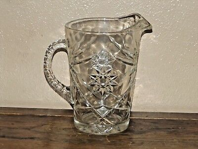 Anchor Hocking Early American Prescut Star of David Clear Pitcher