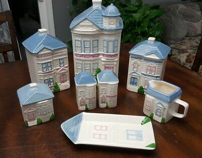 Vintage german lusterware 5 piece canister set for Hearth and home designs canister set