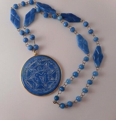 Vintage Mexico Aztec Sun God Disc Blue Agate Carved Pendant Necklace