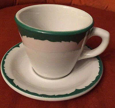 6 Green White Shenango China Cup & Saucer vintage restaurant ware New Castle PA
