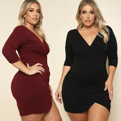 Sexy Women Plus Size Dress Casual V-neck Mini Skirt Bodycon Evening Cocktail