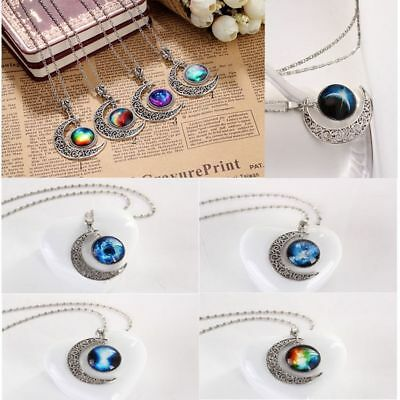 Galaxy Charm Crescent Moon Necklace Pendant Chain Statement Jewelry