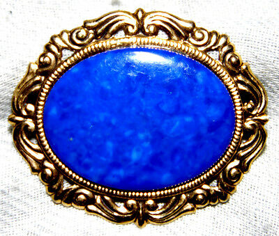 Vintage Classic Gold Tone Blue Cabochon Victorian Style Pin-Brooch