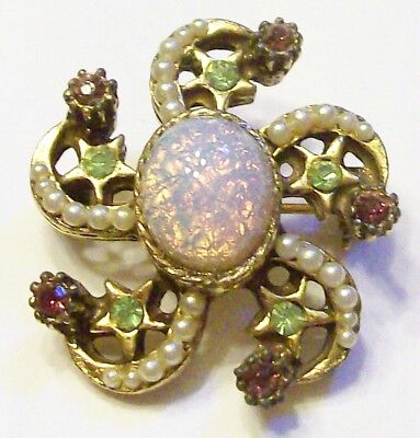 Old Stunning Antique Vintage Brooch Pin Opal Pearl Green Purple Stones Brass Old