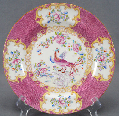 Set of 4 Minton Cockatrice Pink Hand Painted Dinner Plates Circa 1891 - 1904