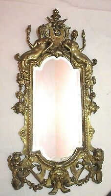 antique ornate 19th century Baroque figural gilt bronze wall mirror brass 1800's