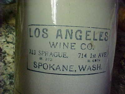 1 Gallon crock jug  LOS ANGELES WINE CO. 713 Sprague Spokane Wa. 714 1ST AVE LA