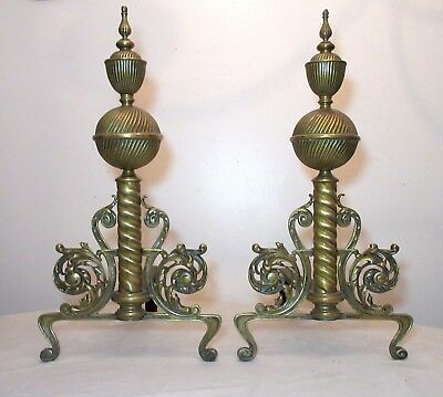 pair antique ornate 19th century Victorian brass fireplace fire chenets andirons