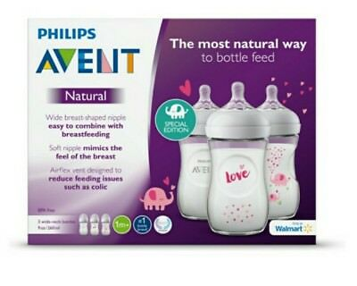 Philips Avent Natural Love Elephant Design Feeding Bottles 3PK 9OZ, Made in USA