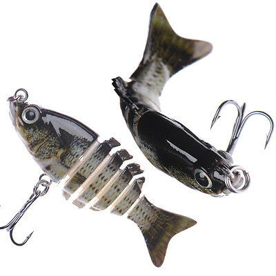 """2"""" inch Multi Jointed Fishing Lures Bass Hooks Tackle Crank Baits Swimbait Bass"""