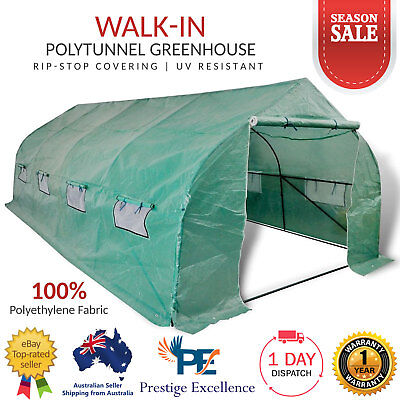 Garden Greenhouse Walk-in Hot Plant House Polytunnel 6x3m Flower Shed with Steel