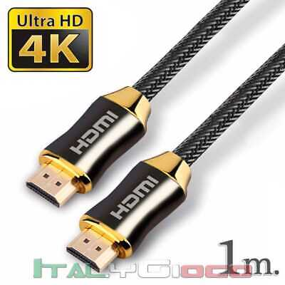 Cavo HDMI Premium High Speed V2.0 Ultra HD TV Ethernet 4K 3D 18 gbps Arc 1m Nero
