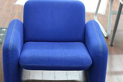 HERMAN MILLER CHICLET CHAIR BLUE mid century modern vintage eames couch sofa