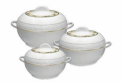 3pc Casserole Set Insulated Food Warmer Round Thermal Hotpot 3 sizes