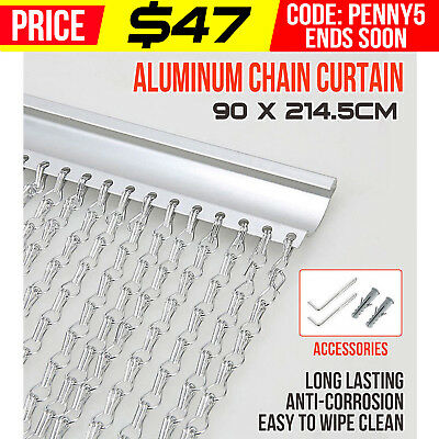 Silver Alluminum Door Chain Curtain Metal Screen Fly Insect Blinds Pest Control