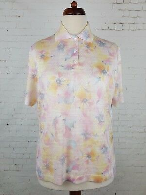 Vtg Ladies 1970s S-Sleeve Floral Pattern Acrylic Polo Shirt Size 16 EK48