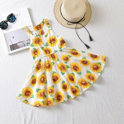 Baby Girl Dress Yellow Sunflower School Sundress Party Size Clothes Outfits 1-6Y