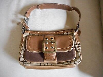 Buy It Now - ALDO FAUX BROWN LEATHER AND FABRIC SHOULDER BAG-Excellent Condition