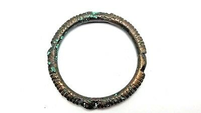 "Ancient Bronze Bracelet with Mysterious Geometric ""Cross"" Notched Design"