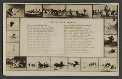 OUT IN OLD MONTANA c.1910s-20s RPPC Real Photo Postcard 17 Rodeo Scenes and Poem