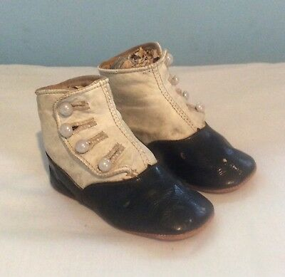 Original Antique Pair of leather Child's Baby Shoes
