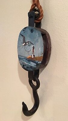 Vtg. Iron and wood single pulley rope block & tackle nautical, painting w/ sign