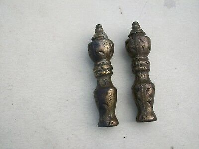 "Antique 2 Cast Iron Brass Finials 4 1/2"" Tall Early 1900 Lamp Bed Post Gate"
