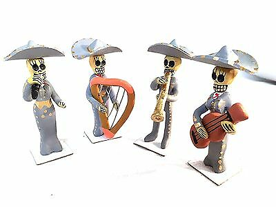 Day Of The  Dead Skeleton  Figure- Mariachi Band In Grey - Mexico
