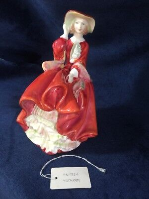 """Royal Doulton Top O' The Hill Hn1834 7.5"""" Figurine, Mint, Box, Red Dress Lady"""