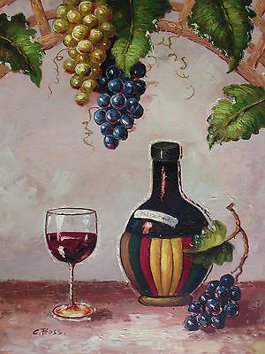 "Original Hand Painted ""Greek Table Wine"" 12x16 Oil Painting Food Art"