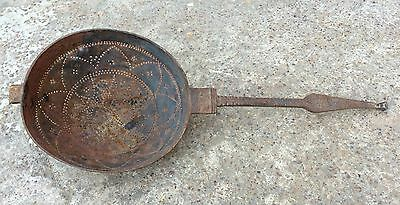 1800's ANTIQUE RARE HAND CARVED IRON STRAINER WITH VERY BEAUTIFUL CARVING