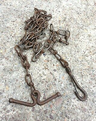 "Antique Hand Crafted Wrought 56"" Iron Chain With Hooks"