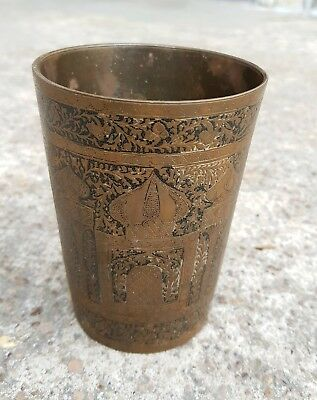 Old Scarce Indo Persian Mosques Carved Islamic Brass Wine Glass