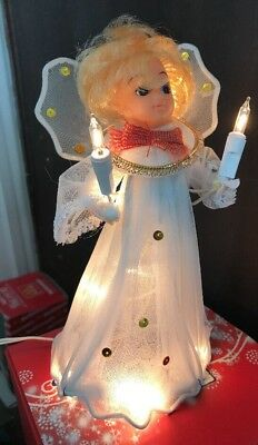 "Vintage Everglow Ten Light Angel Tree Top Christmas Flashing 7"" Tall"