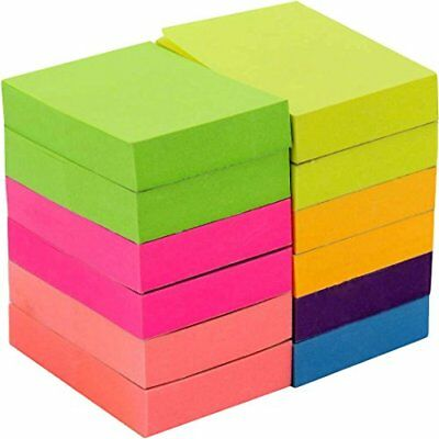 "100 Sheets Post-It Neon Color Sticky Notes 1200 Memo Reminder 12 Pads 1-1/2"" x2"""