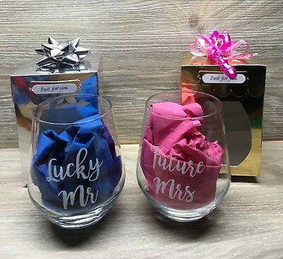 GREAT  GIFTS -STEMLESS WINE GLASS -personalised WITH NAME and gifted boxed glass
