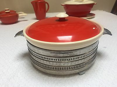 Vintage Universal Potteries Red Cherry & White Covered Casserole w Metal Holder