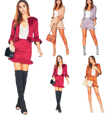 Women Ladies Collarless Faux Suede Frill Ruffle Jacket & Skirt 2 Pcs Co-ord Set