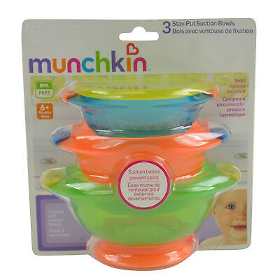 NEW Munchkin 3-Stay Put Suctions Bowls