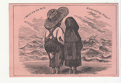 What Are the Wild Waves Saying Black Americana No Advertising Vict Card c 1880s