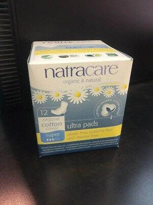 Natracare Organic Cotton Ultra Pads Super with Wings 12 ea