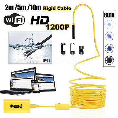 1200P IP68 Wifi Endoscope HD Inspection Camera 8LED for Iphone Samsung Android
