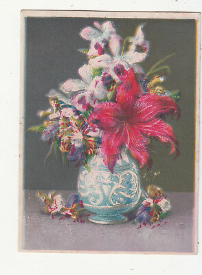 Blue and White Ornate Vase Pink White Flowers No Advertising Vict Card c 1880s