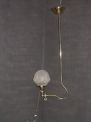 "Ant/Vintage, Victorian, brass, GAS/ELECTRIC, re-wired, J shape chandelier 30"" T"