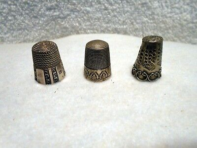 Lot 3 VTG Antique Sterling Silver Sewing Thimble Simon Bros Panel Design Marked