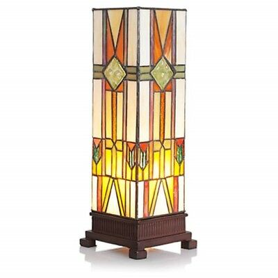 Stained Glass Lamp Tiffany Style Southwest Mission Pillar Shade Table Lamp 14 In