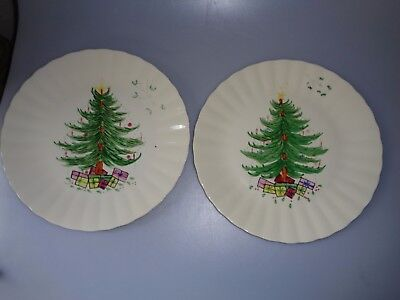 2 Vintage Xmas Tree Plates Blue Ridge Hand Painted Southern Potteries Usa
