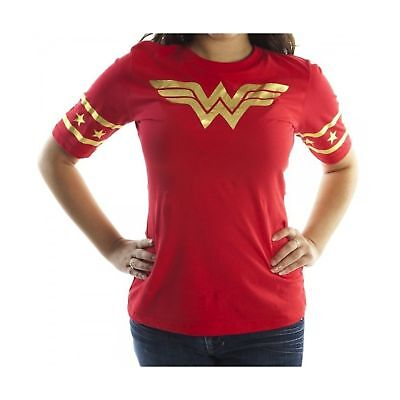 Wonder Woman Gold Foil Striped Sleeves Red Juniors T-shirt Tee X-Large